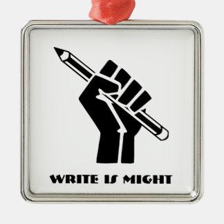Ornement Carré Argenté Write est force