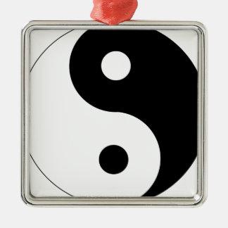 Ornement Carré Argenté yin-Yang