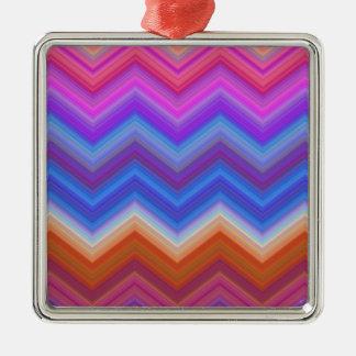 Ornement Carré Argenté zigzag, coloré, drôle