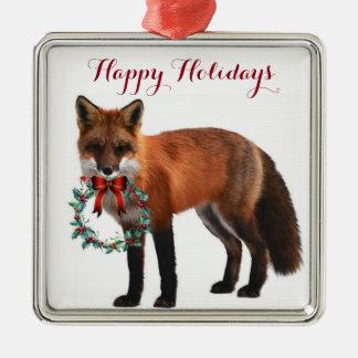 Ornement carré rustique de Noël en métal de Fox