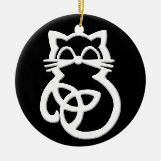 Ornement celtique de chat de noeud blanc de