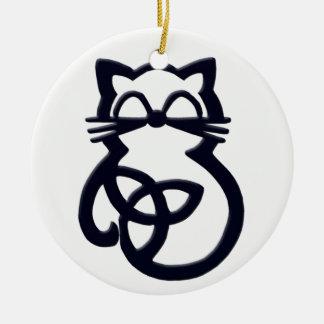 Ornement celtique de chat de noeud noir de trinité