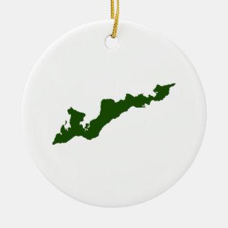 Ornement classique de logo d'île de Fisher - vert