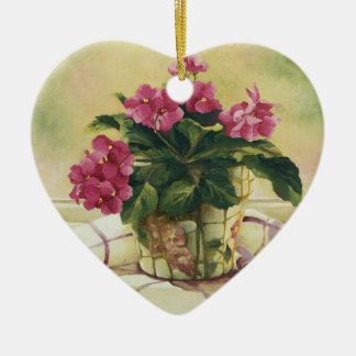 Ornement Cœur En Céramique 0511 violettes africaines dans le planteur de