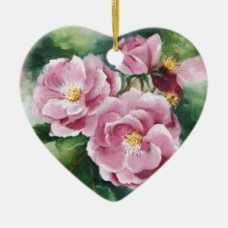 Ornement Cœur En Céramique 0520 roses roses
