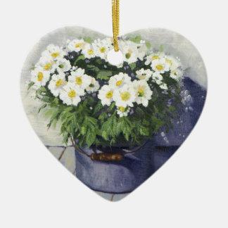 Ornement Cœur En Céramique 0522 mamans blanches dans le pot d'ustensiles en