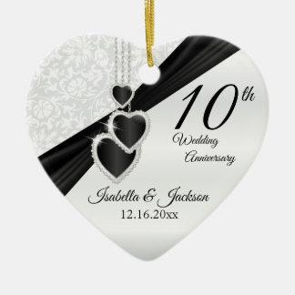 Ornement Cœur En Céramique 10ème Onyx noir et anniversaire de mariage blanc