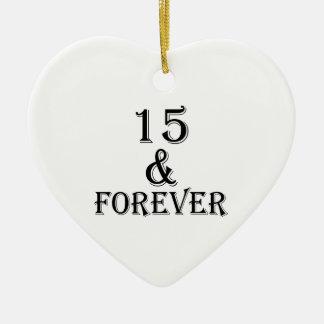 Ornement Cœur En Céramique 15 et pour toujours conceptions d'anniversaire