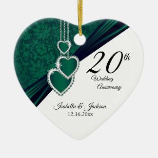 Ornement Cœur En Céramique 20ème Anniversaire de mariage vert de photo avec