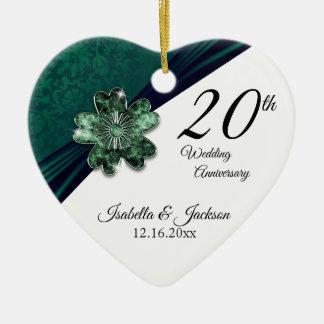 Ornement Cœur En Céramique 20ème Anniversaire de mariage vert vert