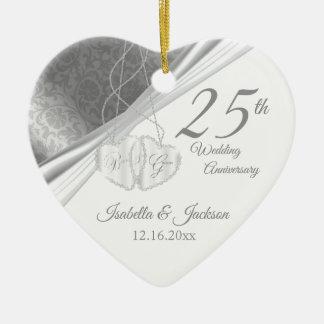 Ornement Cœur En Céramique 25ème Anniversaire de noces d'argent