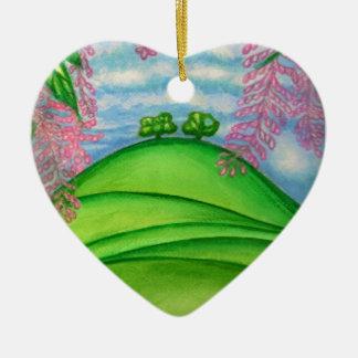 Ornement Cœur En Céramique 2 arbres et la peinture de fleurs de macadamia