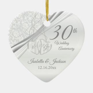 Ornement Cœur En Céramique 30ème Anniversaire de mariage de perle