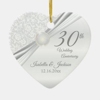 Ornement Cœur En Céramique 30ème Anniversaire de perle
