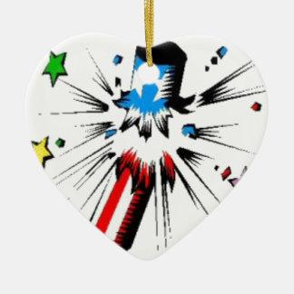 Ornement Cœur En Céramique 4 juillet pétard