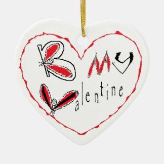 Ornement Cœur En Céramique Abeille mon valentine