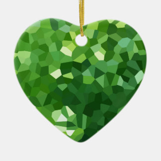Ornement Cœur En Céramique Abrégé sur vert mosaïque en verre souillé de forme