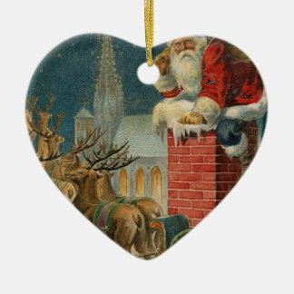 Ornement Cœur En Céramique Affiche 1906 clous de Père Noël de cru original