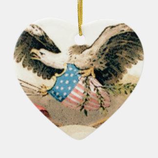 Ornement Cœur En Céramique aigle et joint de drapeaux
