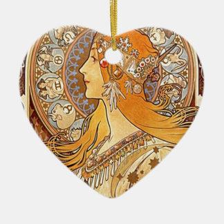 Ornement Cœur En Céramique Aileron avec les cheveux rouges