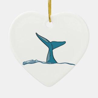 Ornement Cœur En Céramique Aileron de poissons de baleine