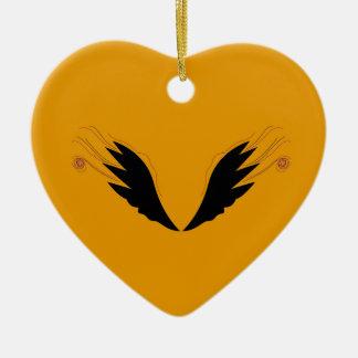 Ornement Cœur En Céramique Ailes de conception, ethno d'or