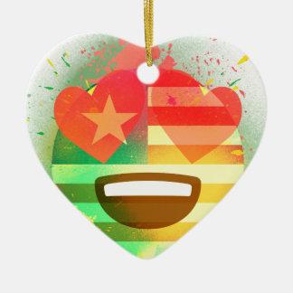 Ornement Cœur En Céramique Aimez l'art de peinture de jet d'Emoji de drapeau