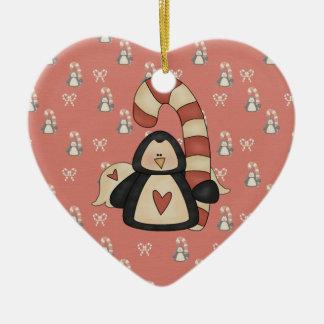 Ornement Cœur En Céramique Aimez mon pingouin