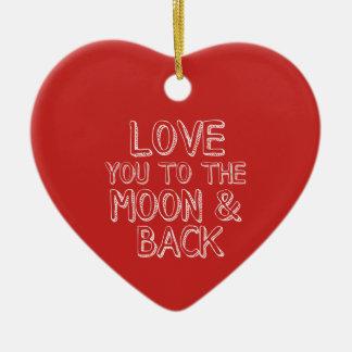Ornement Cœur En Céramique Aimez-vous au coeur rouge de Noël de lune et de