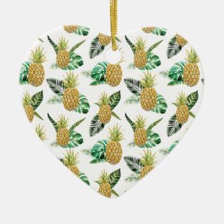 Ornement Cœur En Céramique Aloha ananas