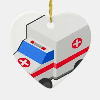 Ornement Cœur En Céramique Ambulance