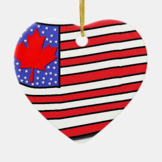 Ornement Cœur En Céramique Américain canadien