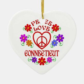 Ornement Cœur En Céramique Amour Conecticut de paix