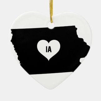 Ornement Cœur En Céramique Amour de l'Iowa