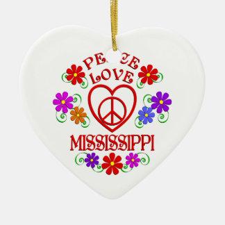 Ornement Cœur En Céramique Amour Mississippi de paix