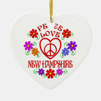 Ornement Cœur En Céramique Amour New Hampshire de paix