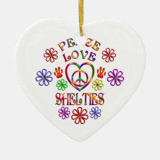 Ornement Cœur En Céramique Amour Shelties de paix