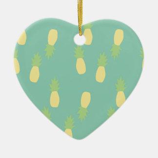 Ornement Cœur En Céramique Ananas arrière exotique bleu en pastel d'amour de