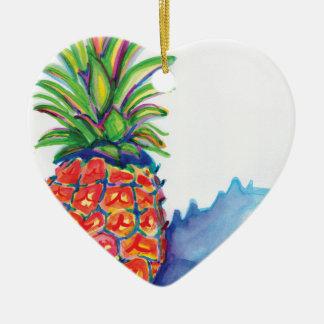 Ornement Cœur En Céramique Ananas tropical