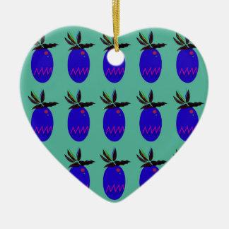 Ornement Cœur En Céramique Ananases de conception bleus