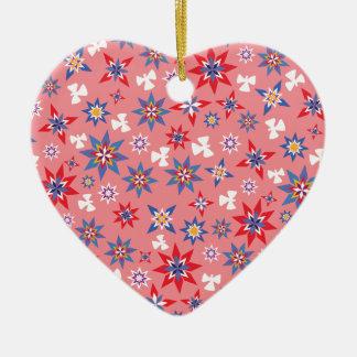 Ornement Cœur En Céramique Anges de neige en rouge