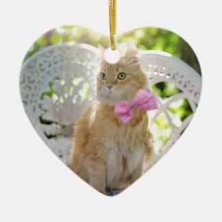 Ornement Cœur En Céramique Animal de compagnie félin de soleil d'été de Kitty