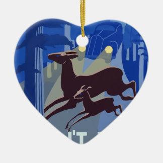 Ornement Cœur En Céramique Animal vintage de faune