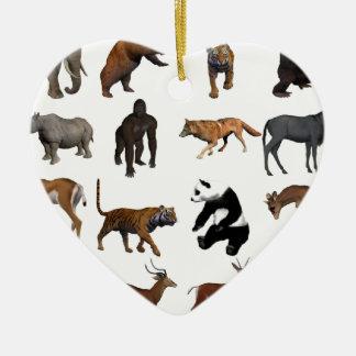 Ornement Cœur En Céramique Animaux sauvages