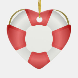 Ornement Cœur En Céramique Anneau de sauveteur