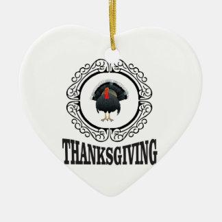 Ornement Cœur En Céramique Anneau de thanksgiving