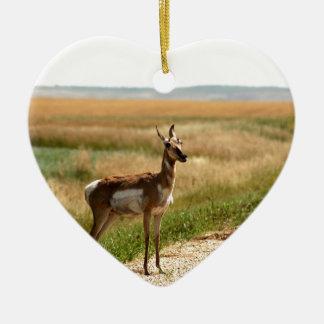Ornement Cœur En Céramique Antilope de Pronghorn de prairie