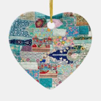 Ornement Cœur En Céramique Aqua et conception bleue de tapisserie d'édredon