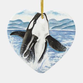 Ornement Cœur En Céramique Aquarelle ouvrant une brèche la baleine d'orque