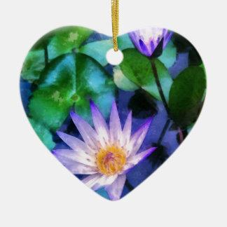 Ornement Cœur En Céramique Aquarelle pourpre de Lotus